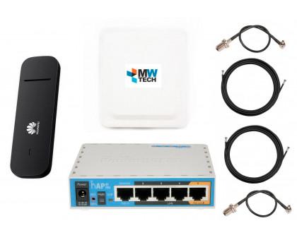 HUAWEI E3372h-320  + Mikrotik hAP ac lite + Антенный комплект MIMO 1700-2700 мГц 15 дБи панельная