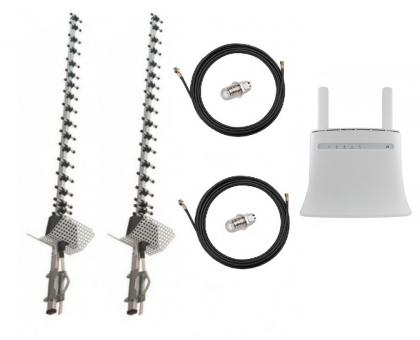 Комплект Антенна 3G/4G Double Force Mimo (2*21 Дб) + 2 кабеля 10м RG58U с коннекторами + 2 адаптера SMA + ZTE MF283