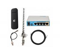 """HUAWEI E3372h-320  + Mikrotik hAP ac lite + Антенный комплект 3G/4G LTE Антенна """"Стрела"""" 21 ДБ"""