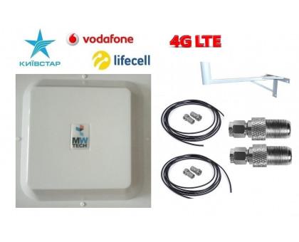 Комплект Антенна Mimo 15 дБи + 2 кабеля 15 м RG58U с коннекторами + 2 адаптера SMA + кронштейн