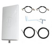 Комплект Антенна Mimo 24 дБи (Logo 4G LTE) + 2 кабеля 15м RG58U с коннекторами + 2 адаптера для модема